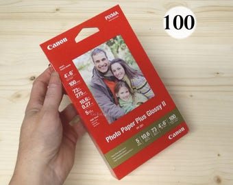 """Canon Photo Paper Plus Glossy II 4x6, 100 Sheets, PP-201, 4"""" x 6"""" Glossy Photo Paper,White,73 lbs, high gloss photo paper 4x6 inch, glossy 2"""