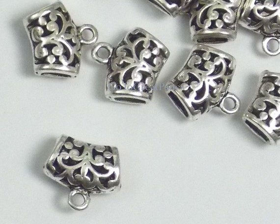 Jewellery Craft Design Silver Plated Necklace Hanging Loop Bail Bails 14mm 18mm
