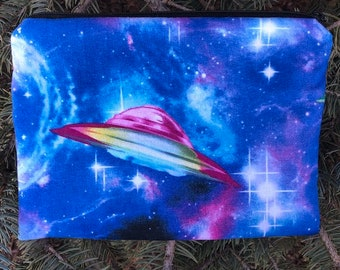 Flying saucer bag,Outer Space Flying Ship wallet,Extraterrestrial bag,Alien wallet,cosmic bag,Rainbow embroidered wallet,New age gift,stars