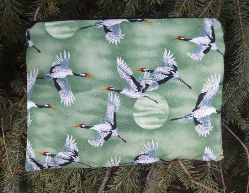 The Slide Cranes and Moons Japanese Cranes Mahjongg card and coin purse