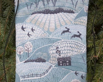 Woodland farm shoulder purse on string, lightweight shoulder bag, purse with phone pocket, Into the Woods, The Dove