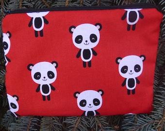 Panda zippered bag, makeup case, zippered pouch, accessory bag, Adorable Panda,  The Scooter