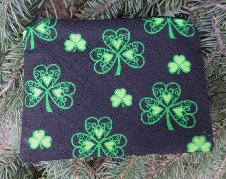 The Raven stitch marker pouch Irish coin purse Fancy Clover credit card case gift card pouch