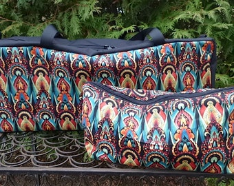 Zippered Mahjongg rack tote and matching flat bottom bag for tiles, Deco Jewel, The Zippered Tote-ster and large Zini