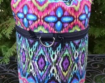 Knitting bag, drawstring project bag, small knitting project bag, Gypsy Stripe, Kipster