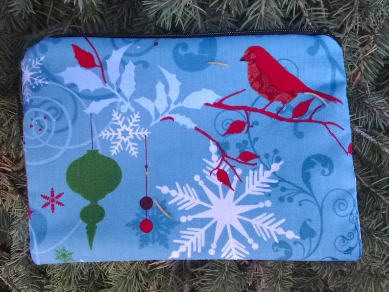 The Scooter Christmas  zippered reusable accessory bag Deer and Birds