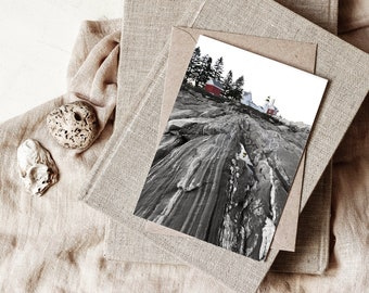 Set of 5 blank notecards - Lighthouse Art - Coastal Home Art — Pemaquid Point Mid Coast Maine - gift notecards with envelopes