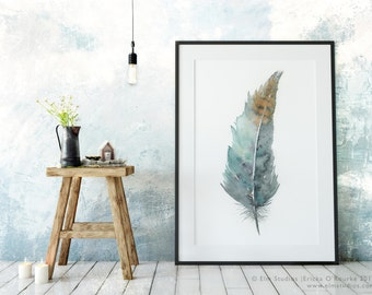 Zen Feather No.2 — archival print from an original watercolor painting by Ericka O'Rourke