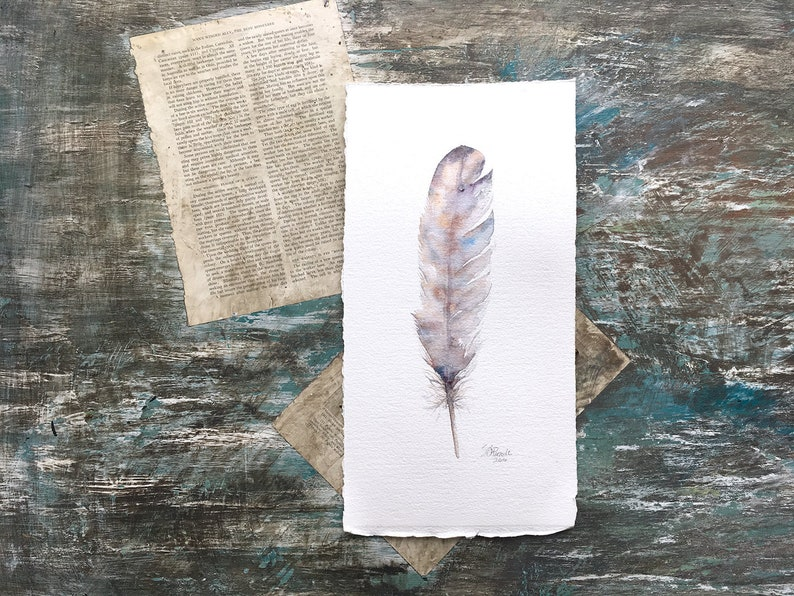 Zen Feather  Original Watercolor Painting  FREE SHIP image 0