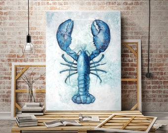 Lucky Catch -  Blue Lobster - Coastal Home Beach Art — Print