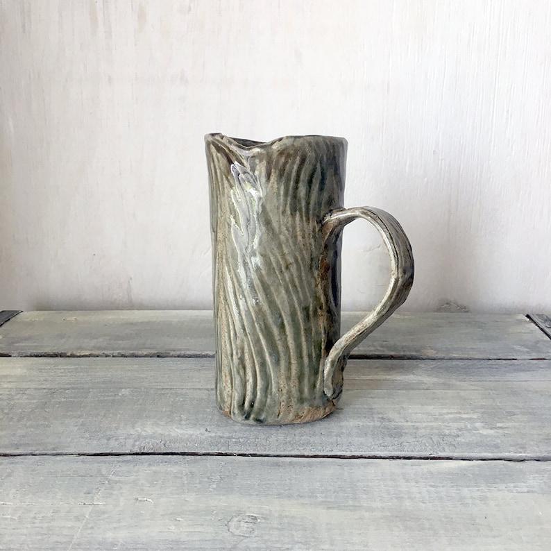 Organic Woodland Hand-carved Stoneware Mug FREE SHIP image 0