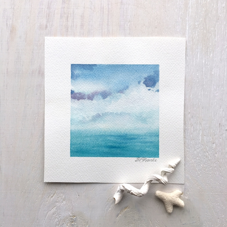 Coastal Sky  A watercolor small  free ship image 0