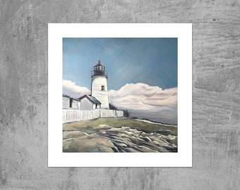 Pemaquid Point Lighthouse - Coastal Maine - Art Print from an Original Oil Painting by Ericka O'Rourke