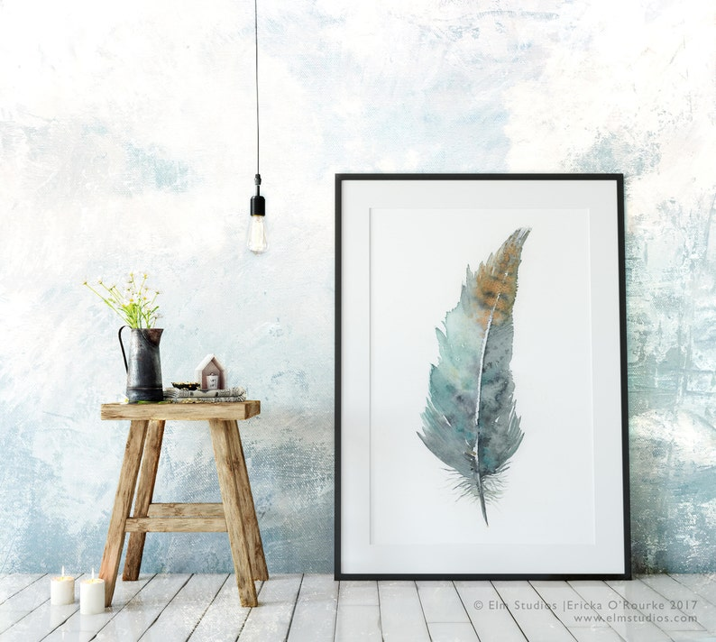 Zen Feather No.2  archival print from an original watercolor image 0