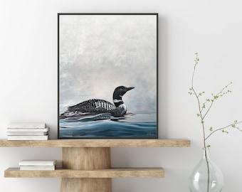 Through the Mist -  Loon - Lake Contemporary Art — Print