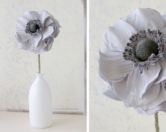 3rd Wedding Anniversary Grey Leather Flower, Gift for Wife, Husband, Couple Anniversary, Birthday Gift Mother, Daughter, - Vase not included