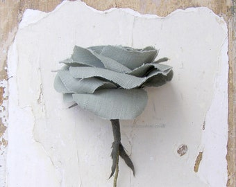 4th Anniversary Sage Green Linen Rose Artwork Sculpture, Birthday Flowers, Wife, Mother, Sister Aunt, Girlfriend  -Vase not included