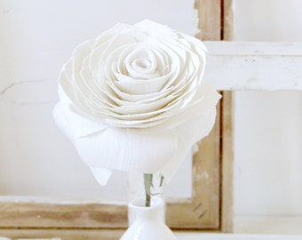 4th Anniversary Ivory Linen Rose Sculpture, Gift for Her Wife Girlfriend Fiancée -Vase not included