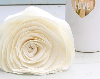 2nd Wedding Anniversary Long Stem Cream Rose Sculpture, Cotton Anniversary Gifts for Wife, Husband - Vase not included