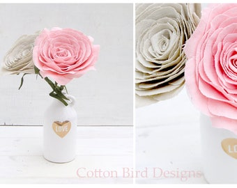 4th Anniversary Long Stem LINEN Fabric Roses by Cotton Bird Designs