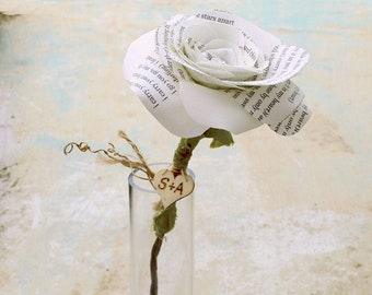 Personalised Heart on Poem Rose for 2nd Wedding Anniversary.  Poem Rose 'i carry your heart with me' -Vase not included