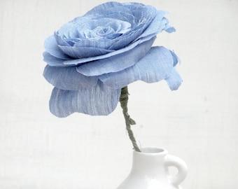 e60b683bfa 4th Anniversary LINEN Flower for Wife Long Stem Everlasting Linen Rose  Flowers by Cotton Bird Designs