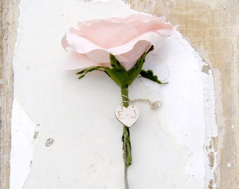 Vintage Pink COTTON Fabric Rose 2nd Wedding Anniversary Long Stem Rose Gift for Wife by Cotton Bird Designs