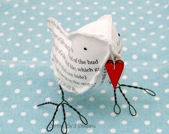 2nd Anniversary COTTON Fabric Bird Poem I carry your heart with me EE Cummings Gifts by Cotton Bird Designs