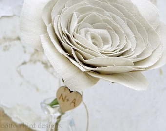4th Anniversary Natural LINEN Fabric Flower Gift for Her Wife Girlfriend Flowers by Cotton Bird Designs