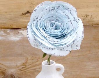 COTTON Fabric Rose 2 Year Wedding Anniversary I Love You Blue Flower by Cotton Bird Designs