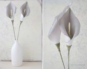 3rd Wedding Anniversary, White Leather Lilies, Everlasting Flowers, Home Décor, Gift for Wife, Husband, Couple, Flowers - Vase not included