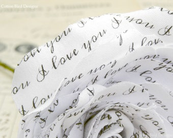 4th Anniversary Flower Love You LINEN Fabric Rose by Cotton Bird Designs