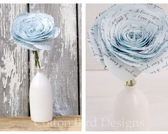 2 year anniversary COTTON Fabric Blue Rose I LOVE YOU Bloom by Cotton Bird Designs
