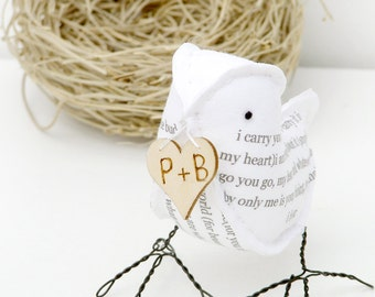 2nd Wedding Anniversary Bird Poem in COTTON Fabric with poem I carry your heart with me EE Cummings Love Bird by Cotton Bird Designs