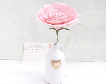 4th Anniversary Flower for Wife Long Stem Everlasting LINEN Flower by Cotton Bird Designs