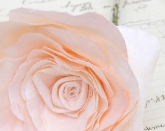 2nd Second Wedding Anniversary COTTON Fabric Long Stem Peach Rose Gift Flowers by Cotton Bird Designs