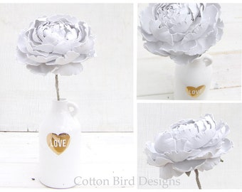 RESERVED for R. 3rd Wedding Anniversary Leather Flower in Pearl White by Cotton Bird Designs