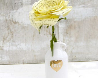 COTTON 2 year anniversary Long Stem Yellow Rose I LOVE YOU Sweet engagement Anniversary Wedding Gift by Cotton Bird Designs