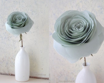 2nd Wedding Anniversary Long Stem Green Rose Sculpture, Cotton Anniversary Gifts for Wife, Husband - Vase not included