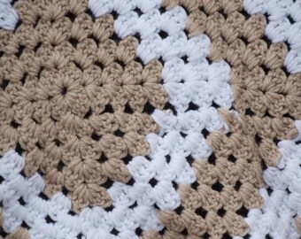 Vintage Granny Square Hand crocheted Beige and white afghan