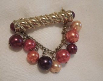Vintage Ladies Gold Pin or Brooch with hanging Autumn Beads