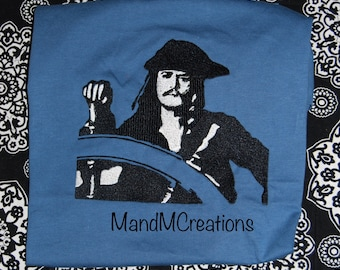 Captain Jack Sparrow Embroidery Pirate Shirt Toddler to Adult