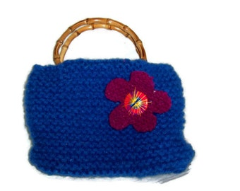 Blue and Purple Embellished Handknitted and Felted Wool Purse