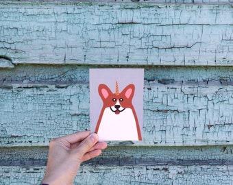 Unicorn Welsh Corgi postcard, 4.1''x5.8''