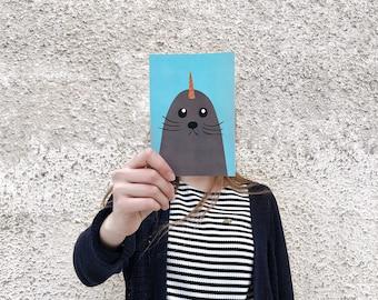Unicorn seal postcard, 4.1''x5.8''