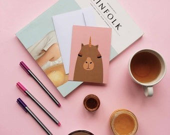 Unicorn Capybara postcard, 4.1''x5.8''