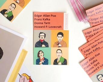 Franz Kafka, Edgar Allan Poe, Donna Tartt, Howard Lovecraft sticker set