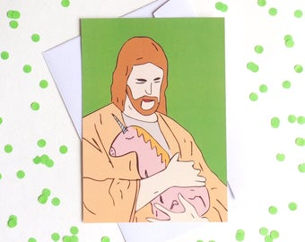 Jesus with the Unicorn postcard, 4.1''x5.8''