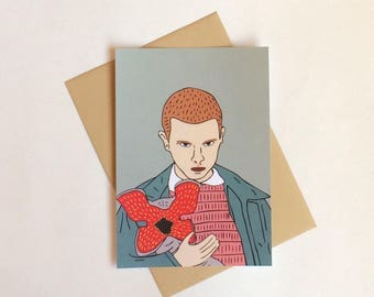 Eleven and the Demogorgon, Stranger Things postcard, 4.1''x5.8''