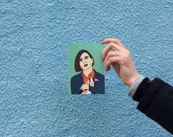 Donna Tartt postcard, 4.1''x5.8''